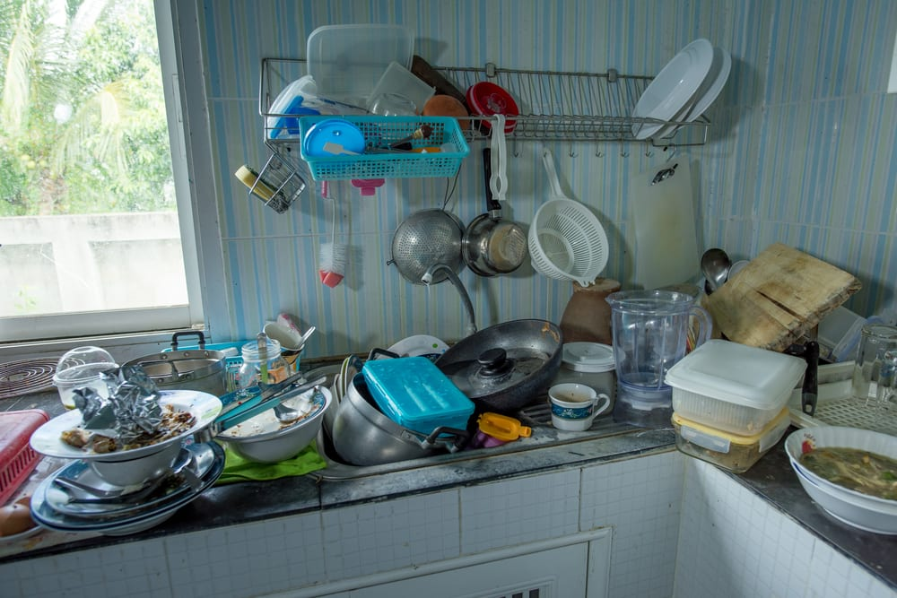 Dirty kitchen should be cleaned